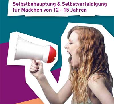 Bild: Info-Flyer (Ausschnitt), Schrift auf dem Bild: Selbstbehauptung und Selbstverteidigung für Mädchen