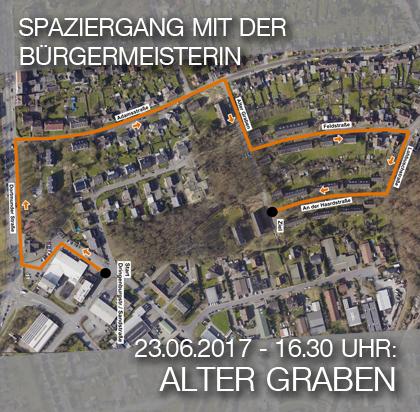 Bild: Luftbild der Siedlung Alter Graben mit Wegmarkern für den Quartier-Spaziergang