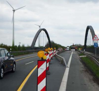 Auf dem Bild: Baustelle an der Drucksbrücke 11, Foto: Wasserstraßen- und Schifffahrtsamt Duisburg-Meiderich