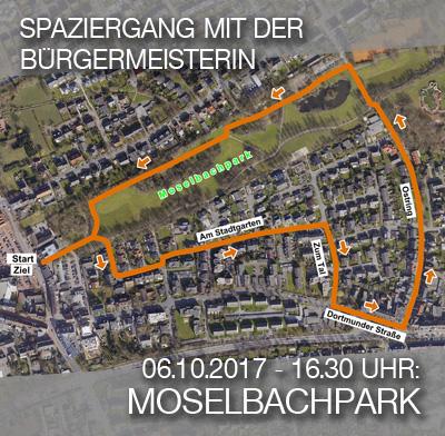 Bild: Luftbild der Siedlung Moselbachpark mit Wegmarkern