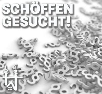 Bild: Paragraphen, Text im Bild: Schöffen gesucht, Grafik: SK Design, fotolia.com