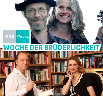 Auf dem Bild: Duo Tangoyim, Martin Brambach und Christine Sommer. Schrift im Bild: VHS Waltrop, Woche der Brüderlichkeit. Fotos: PR.