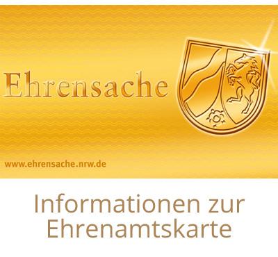 Auf dem Bild: Ehrenamtskarte, Vorderseite. Schrift im Bild: Informationen zur Ehrenamtskarte. Foto: Landesregierung Nordrhein-Westfalen.