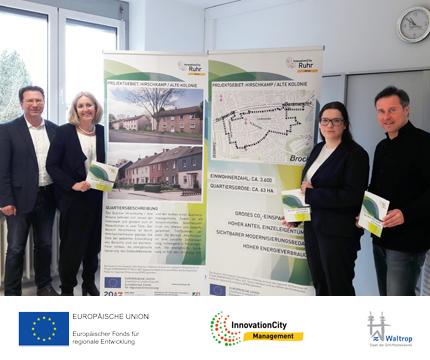 Auf dem Bild: Bürgermeisterin Nicole Moenikes präsentiert gemeinsam mit Vertretern aus Stadtentwicklung und Wirtschaftsförderung das Projekt und seine Zielsetzung. Foto: Stadt Waltrop