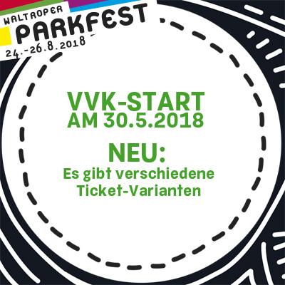 Auf dem Bild: Aktionslogo und Mitteilung vom Waltroper Parkfest. Text im Bild: VVK startet am 30.5.2018, Es gibt verschiedene Ticketvarianten. Grafische Gestaltung: Maria Diekmann, www.ritjegrafik.de