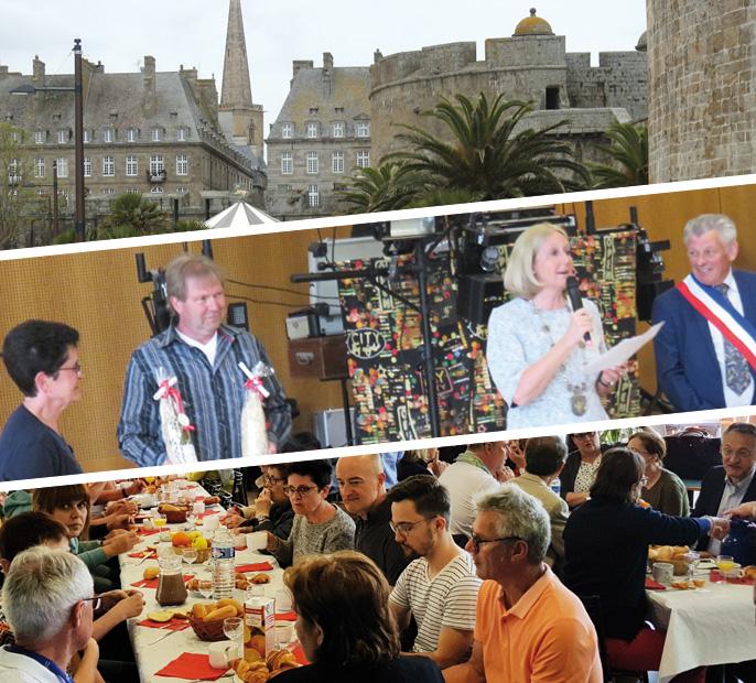 Auf der Bildcollage: Impressionen aus Saint Malo, Bürgermeisterin Moenikes und Bürgermeister Plouhinec beim Empfang in Cesson, gemeinsames Frühstück bei der Ankunft. Fotos: Uwe Seidenberg, Stadt Waltrop