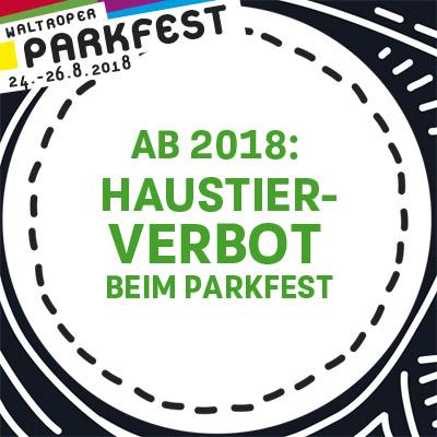 Auf dem Bild: Aktionslogo und Mitteilung vom Waltroper Parkfest. Text im Bild: Ab 2018 Haustierverbot beim Parkfest
