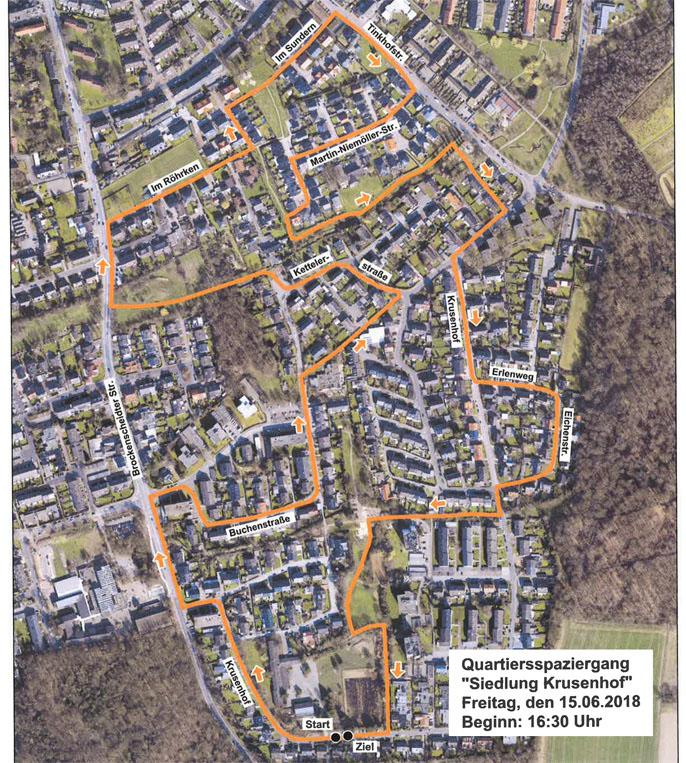 Bild: Luftbild der Siedlung Krusenhof mit Wegmarkern für den Quartier-Spaziergang.