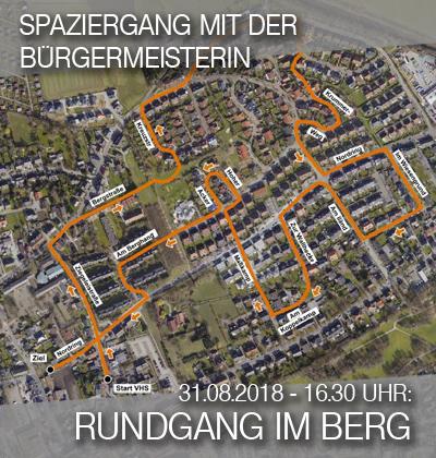 Bild: Luftbild der Siedlung Im Berg mit Wegmarkern für den Quartier-Spaziergang