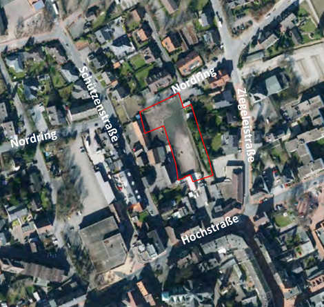 Auf dem Bild: Luftbild mit Lage-Markierungen für den vorhabenbezogenen Bebauungsplan Nr. 96