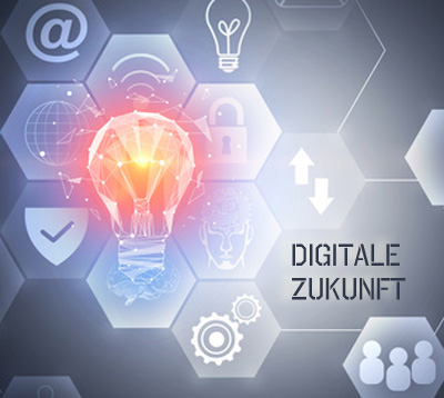 Grafik: Future and innovation concept. Text im Bild: Digitale Zukunft. Copyright: peshkova, fotolia.com