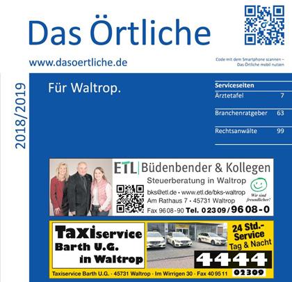 Auf dem Bild: Das Örtliche für Waltrop 2018 und 2019, Deckblatt, Ausschnitt. Foto: Sutter Local Media
