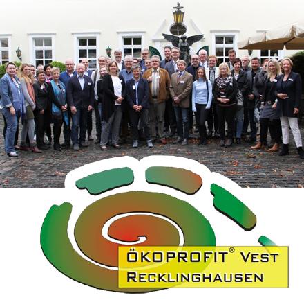 Auf dem Bild: Vertreter aller diesjährigen Teilnehmer von ÖKOPROFIT mit Cay Süberkrub, Christel Dymke und Martin Brambach.