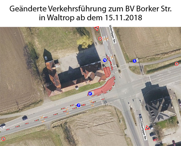 Auf dem Bild: Luftbild der Niehues-Kreuzung mit Markierungen für die Straßenführung währende der Bauarbeiten; Grafik: Stadt Waltrop