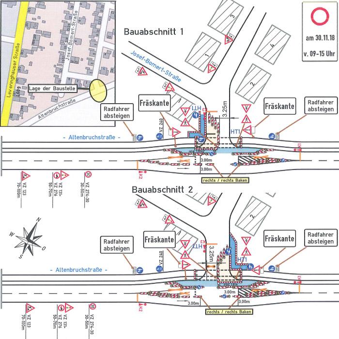 Auf dem Bild: Teilsperrung in der Altenbruchstraße, Kartengrafiken zu Bauabschnitt 1 und 2; Foto: Zeppelin Baustellen- und Verkehrssicherung