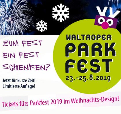 Auf dem Bild: Weihnachts-Tickets fürs Parkfest 2019