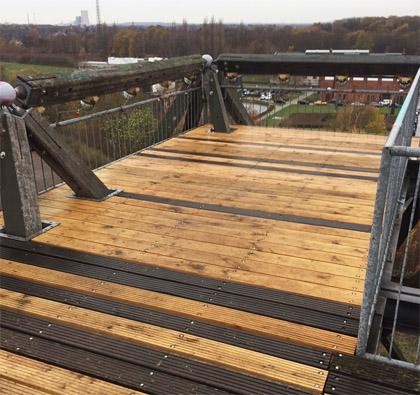Auf dem Bild: Reparierte Aussichtsplattform des Spurwerkturms auf der Halde Brockenscheidt. Foto: Stadt Waltrop
