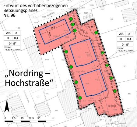 Auf dem Bild: Entwurf des vorhabenbezogenen Bebauungsplanes Nr. 96