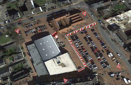 Auf dem Bild: Baustelle Marktplatz am Raiffisenplatz