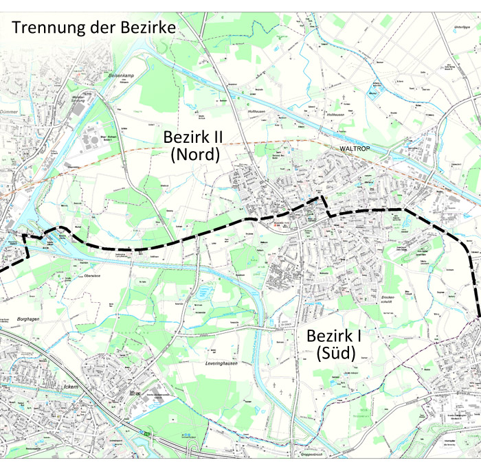 Auf dem Bild: Kartengrafik. Text im Bild: Trennung der Bezirke, Bezirk II (Nord), Bezirk I (Süd). Grafik: Stadt Waltrop