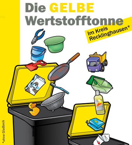 """Bild: Flyer """"Die Gelbe Werkstofftonne"""", Deckblatt, Derivat; Quelle: Kreis Recklinghausen"""