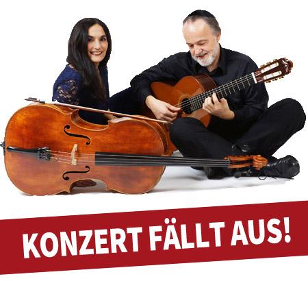 Auf dem Bild: Duo Burstein und Legnani, Schrift im Bild: Konzert fällt aus; Quelle: VHS Waltrop.