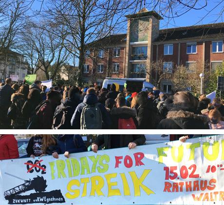 Auf dem Bild: Waltroper Schülerinnen und Schüler vor dem Rathaus (oben) und eines ihrer Transparente (unten). Fotos: Stadt Waltrop