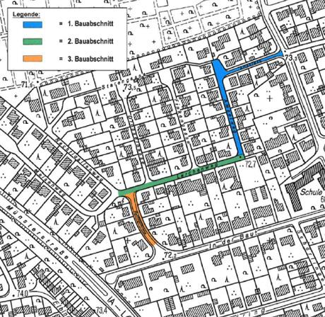 Auf dem Bild: Kartengrafik mit Markierungen für die drei Bauabschnitte Amselweg, Lerchenweg und Nachtigallenweg.
