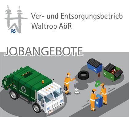 Auf dem Bild: Grafik mit Text. Text im Bild: Ver- und Entsorgungsbetrieb Waltrop AöR, Jobangebote.