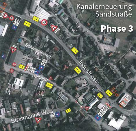Auf dem Bild: Kartenausschnitt mit Markierungen für die Verkehrsregelung. Grafik: Stadt Waltrop