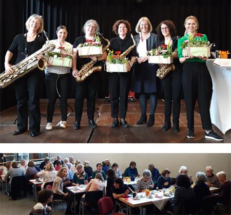 Auf dem Bild oberen Bild: Die Gruppe Blasfemin (in schwarz), Patricia Neuhaus (2.v.l.), Nicole Moenikes (3.v.r.) und Christine Sommer (r.); Auf dem unteren Bild: Frühstücksbüffett im Yahoo. Fotos: Stadt Waltrop