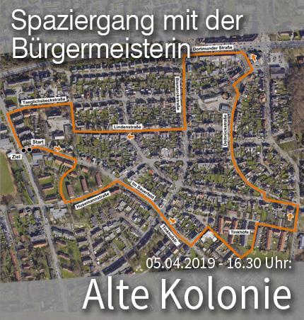 """Bild: Luftbild der Siedlung """"Alte Kolonie"""" mit Wegmarkern für den Quartier-Spaziergang. Grafik: Stadt Waltrop."""