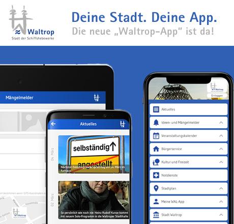 Auf dem Bild: Grafik mit Screenshots der Waltrop-App, © Stadt Waltrop