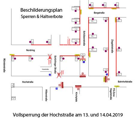 Auf dem Bild: Verkehrszeichenplan für die Sperrung der Hochstraße und den Umleitungsverkehr (Derivat)