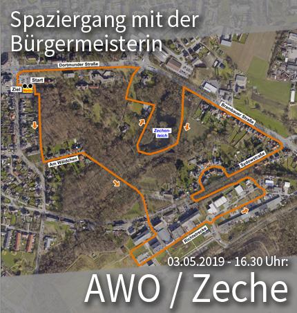"""Bild: Luftbild des Stadtviertels """"AWO/Zeche"""" mit Wegmarkern für den Quartier-Spaziergang. Grafik: Stadt Waltrop."""
