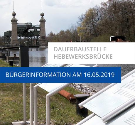 Auf dem Bild: Schiffshebewerk. Schrift im Bild: Dauerbaustelle Hebewerksbrücke, Bürgerinformation am 16.05.2019. Foto: Stadt Waltrop
