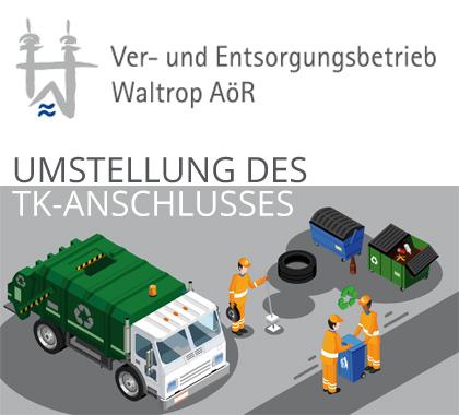 Auf dem Bild: Infografik V+E, Text im Bild: Umstellung des TK-Anschlusses.