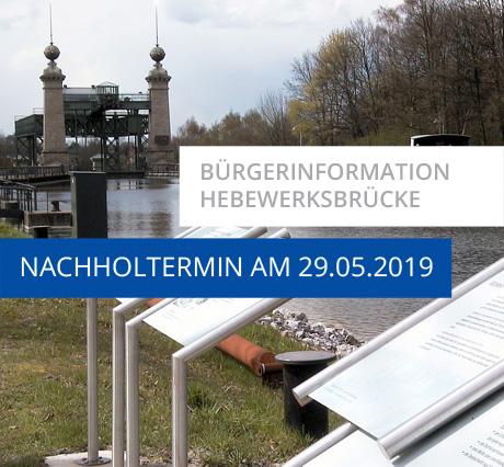 Auf dem Bild: Schiffshebewerk. Schrift im Bild: Bürgerinformation Hebewerksbrücke, Nachholtermin am 29.05.2019. Foto: Stadt Waltrop