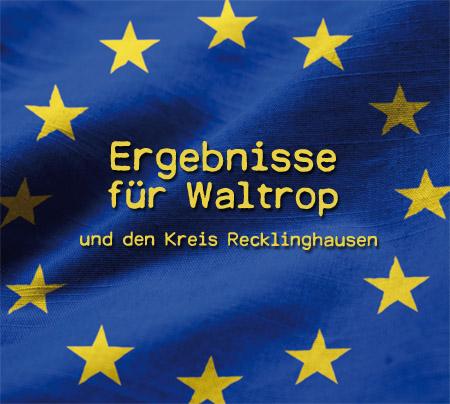 Auf dem Bild: EU-Flagge, Text im Bild: Ergebnisse für Waltrop und den Kreis Recklinghausen; Foto: © www.slon.pics via freepik.com