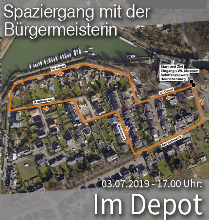 """Bild: Luftbild des Stadtviertels """"Im Depot"""" mit Wegmarkern für den Quartier-Spaziergang. Grafik: Stadt Waltrop."""
