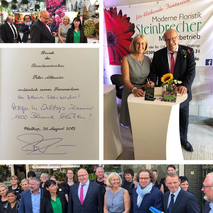 Auf dem Bild: Collage mit Bildern vom Besuch von Bundesminister Peter Altmeier bei Blumen Steinbrecher. Fotos: Stadt Waltrop