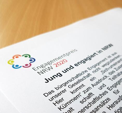 Auf dem Bild: Ausschreibung des Engagementpreises. Foto: www.engagiert-in-nrw.de
