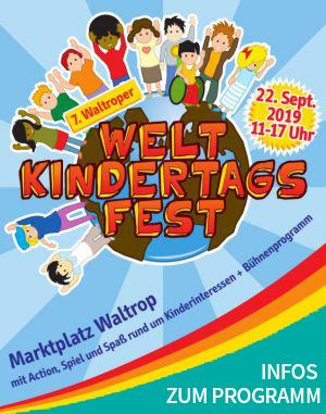 Auf dem Bild: Veranstaltungsplakat, Derivat. Text im Bild: 7. Waltroper Weltkindertagsfest, Infos zum Programm.