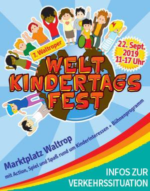 Auf dem Bild: Veranstaltungsplakat, Derivat. Text im Bild: 7. Waltroper Weltkindertagsfest, Infos zur Verkehrssituation.