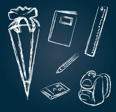 Bild: Piktogramme, Thema Einschulung: Schultüte, Rucksack, Heft, Lineal; Grafik: frilleddragon, fotolia.com