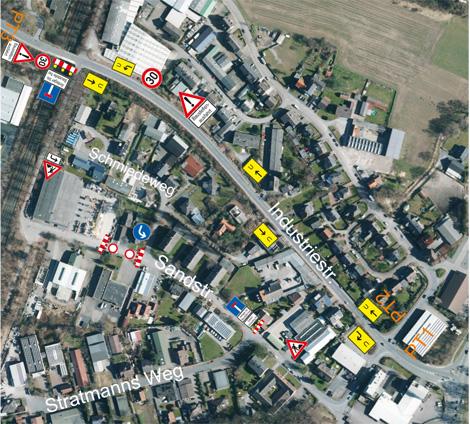 Auf dem Bild: Luftbild des Baustellenbereichs mit Markierungen. Grafik: Ver- und Entsorgungsbetrieb der Stadt Waltrop AöR