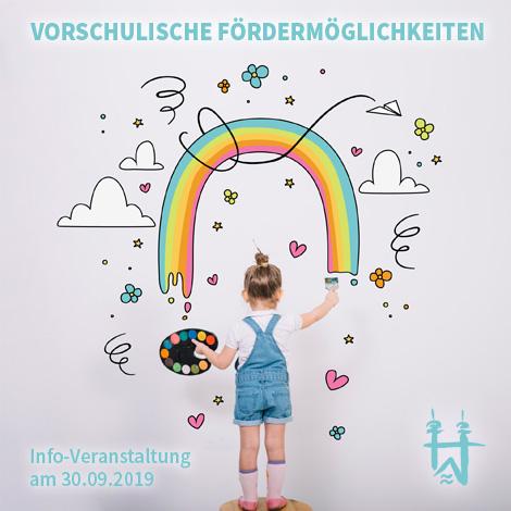 Auf dem Bild: Kind malt einen Regenbogen. Text im Bild: Vorschulische Fördermöglichkeiten.