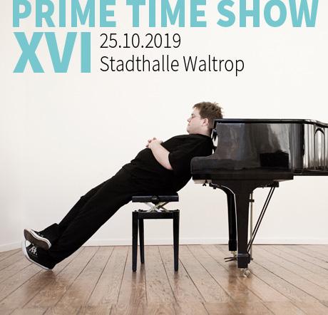 Auf dem Bild: Matthias Reuter (Quelle: PR). Schrift im Bild: Prime Time Show XVI, 25.10.2019, Stadthalle Waltrop.