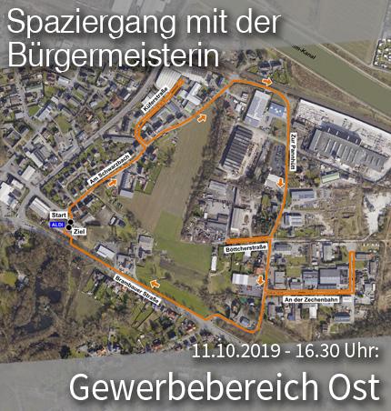 """Bild: Luftbild des Stadtviertels """"Gewerbebereich Ost"""" mit Wegmarkern für den Quartier-Spaziergang. Grafik: Stadt Waltrop."""
