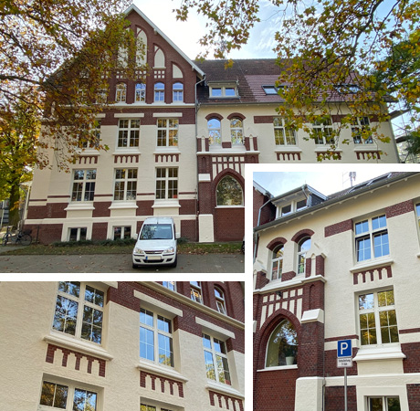 Auf der Foto-Collage: Neue Fassaden der Lindgren Schule II. Fotos: Stadt Waltrop